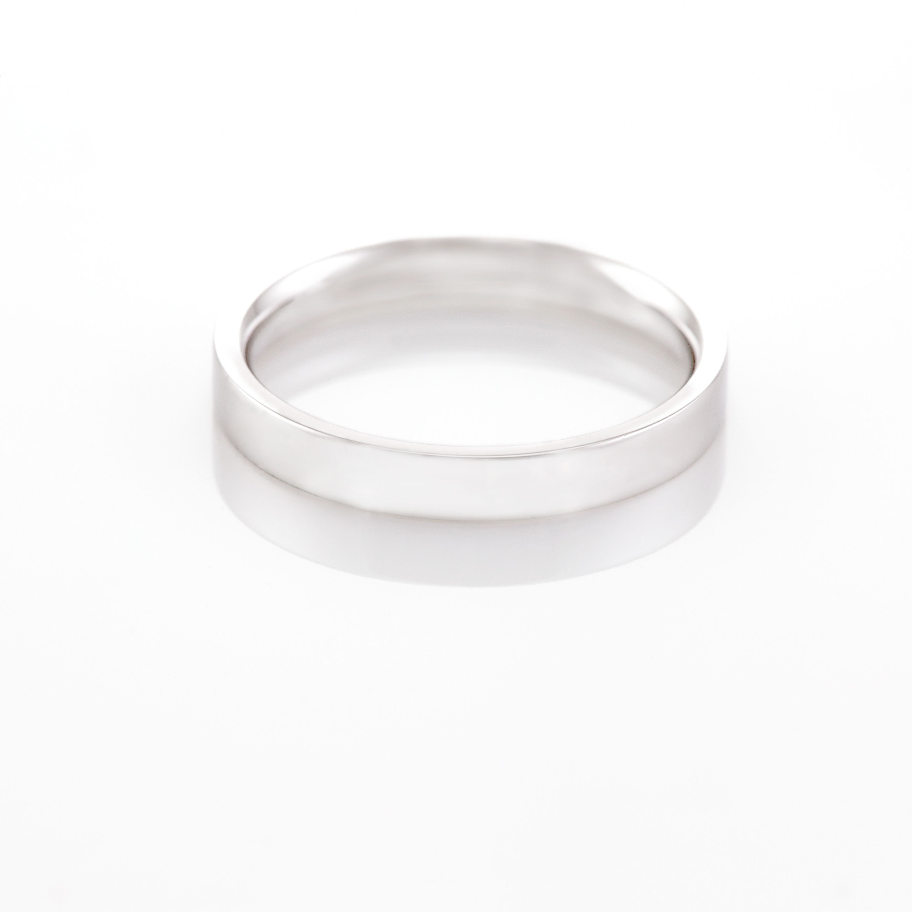 4MM Flat Court wedding band in White Gold London Wedding Ring Company