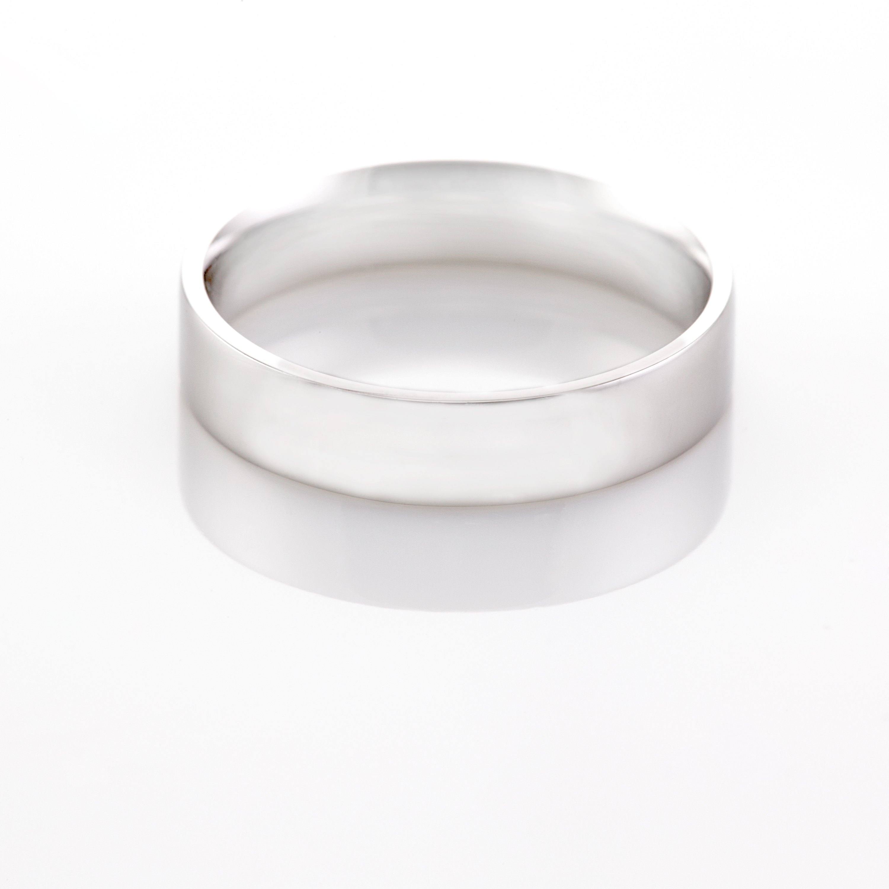 6MM Flat Court wedding band in White Gold London Wedding Ring Company